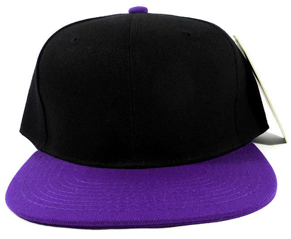 Custom Embroidery Black Cap Adjustable Purple Bill Brim Personalize Hat Your Logo Snapback