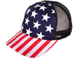 Custom Trucker Hats American Flag All over Stars and Stripes Red White and Blue Dad Baseball Cap Mesh Back Hat Snapback Customizable