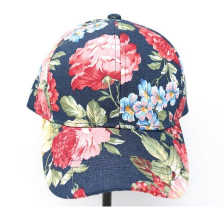 CC Hat Custom Embroidery Blue Hat Red and Pink Floral Spring Flower All over Cap Your Custom Print