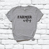 Farmer Wifey Print Women's V-Neck T-shirt Country Shirt Custom Colors Fitted Tee Family Wife Southern USA Farm Mom