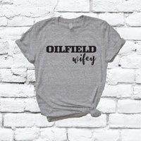 Oilfield Wifey Print Women's V-Neck T-shirt Country Shirt Custom Colors Fitted Tee Family Wife Mom