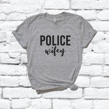 Police Wifey Print Women's V-Neck T-shirt Country Shirt Custom Colors Fitted Tee Family Blue Lives Matter Wife Mom