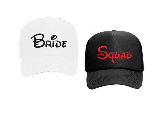 Bride Squad Trucker Hats Mesh Back Hat Snapback Customizable Party Hats for Spring Break Girls Weekend Guys Weekend College Break