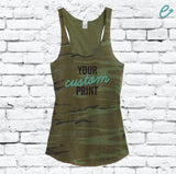 Custom Women's Camo Scoop Neck Racer back Tank Top Custom Shirt Custom Personalized Soft Camoflauge Tank Top Green Cami