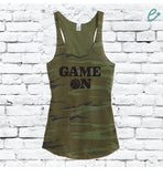 Game On Basketball Custom Women's Camo Scoop Neck Racer back Tank Top Custom Shirt Custom Personalized Soft Camoflauge Tank Top Green Cami