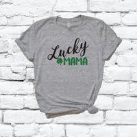 Lucky Mama Saint Patricks Day Shamrock Irish Print Women's V-Neck T-shirt Day Shirt Custom Colors Fitted Tee Holiday Shamrocks