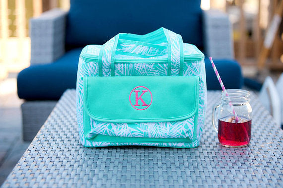 Custom Monogrammed Viv and Lou Cooler Teal Palm Printed Ice Chest Tote Monogram Casual Cooler Bag