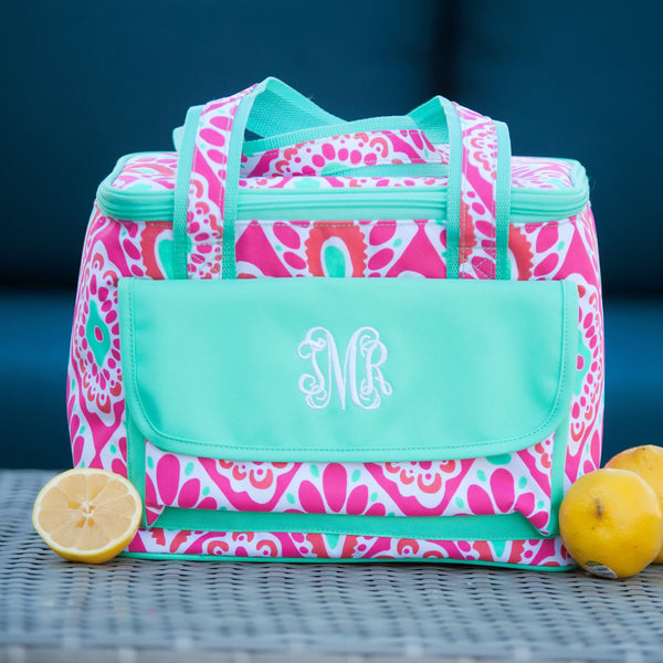 Custom Monogrammed Viv and Lou Cooler Beachy Keen Paisley Printed Ice Chest Tote Monogram Casual Cooler Bag