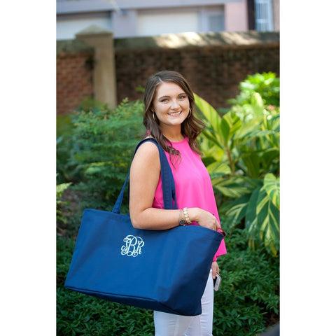 Custom Monogrammed Ultimate Tote Navy Large Shopping Bag Monogram Personalized Bag