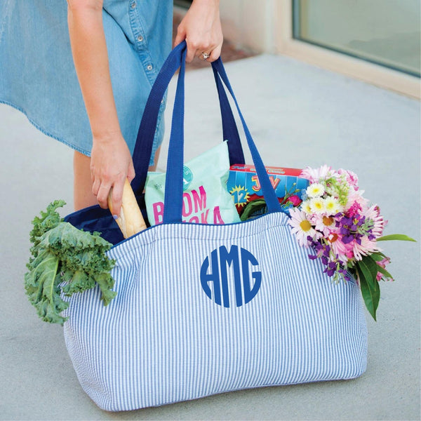 Custom Monogrammed Ultimate Tote Navy Seer Sucker Large Shopping Bag Monogram Personalized Grocery Bag