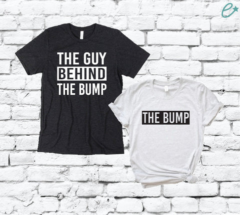 a2aa555d The Bump and The Guy Behind the Bump Couples Funny Graphic Tee Pregnancy  Baby Announcement Shirts