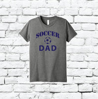 Soccer Dad Print Men's Crew Neck Grandpa T-shirt Graphic Tee Sports Father Custom Soft Relaxed Shirt Retail Fit Tee