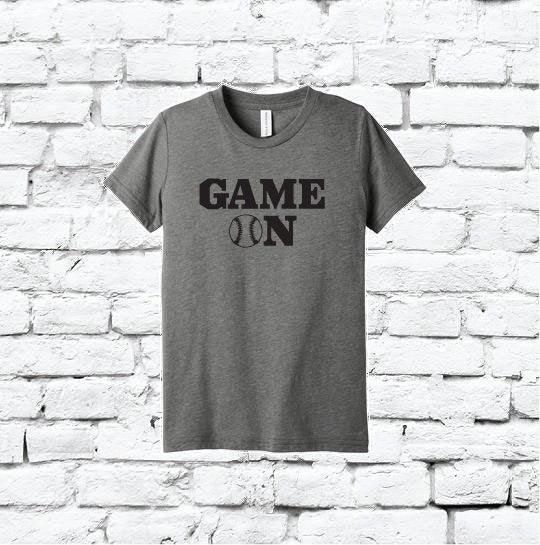 Game On Baseball Print Men's Crew Neck Dad T-shirt Graphic Tee Sports Father Custom Soft Relaxed Shirt Retail Fit Tee