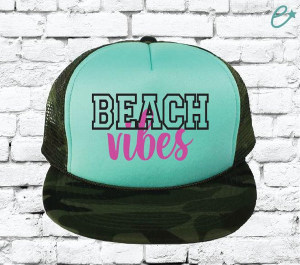 Beach Vibes Camo Trucker Hats Mesh Back Hat Snapback Party Hats Girls Weekend Guys Weekend River Trip