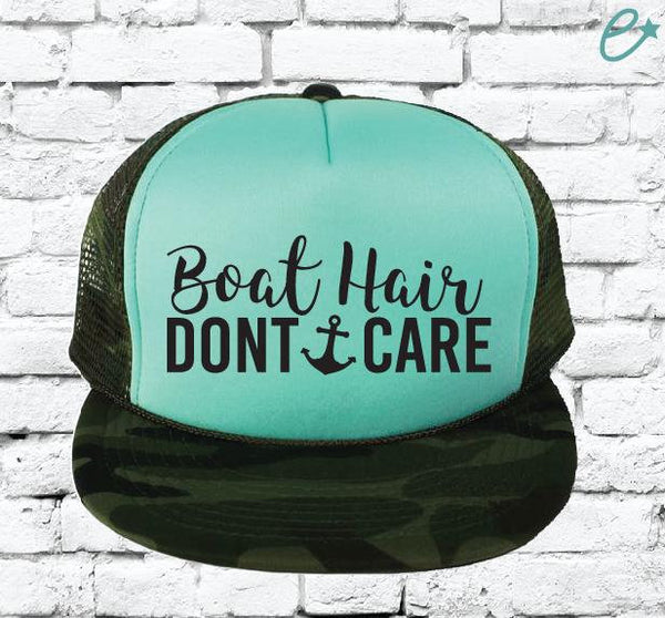 Boat Hair Don't Care Camo Trucker Hats Mesh Back Hat Snapback Party Hats Girls Weekend Guys Weekend River Trip