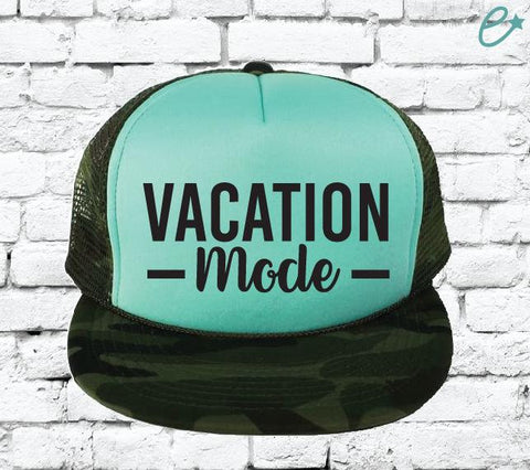 Vacation mode Camo Trucker Hats Mesh Back Hat Snapback Party Hats Girls Weekend Guys Weekend River Trip