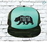 Mama Bear Camo Trucker Hats Mesh Back Hat Snapback Party Hats Girls Weekend Guys Weekend River Trip