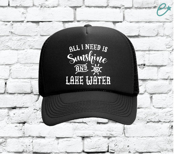 All I Need is Sunshine and Lake Water Trucker Hats Mesh Back Hat Snapback Party Hats Spring Break Girls Weekend Guys Weekend
