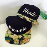 Blondie and Brownie Sbapback Hats Friends Hats White Rose Floral Brim Hats with Strapback Pair Couple