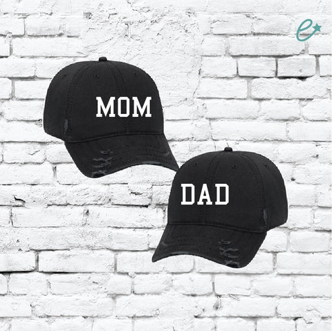 e68fb72ea04a9 Mom and Dad Embroidery Ripped Distressed Dad Couples Hat 6 Panel Low  Profile Twill Superior Washed
