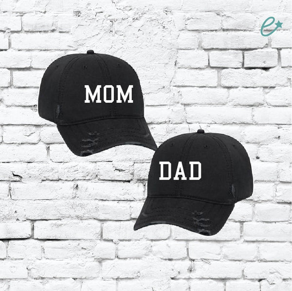 Mom and Dad Embroidery Ripped Distressed Dad Couples Hat 6 Panel Low Profile Twill Superior Washed Cotton Baseball Cap Baby Announcment