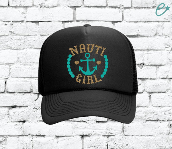 Nauti Girl Trucker Hats Mesh Back Hat Snapback Customizable Party Hats Spring Break Girls Weekend Guys Weekend College Break