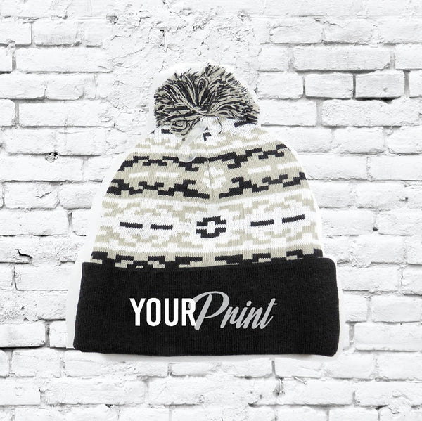 Personalized Aztec Pom Pom Beanies Throwback Beanie Skull Cap Custom Black and Grey Stripe Knit Hats