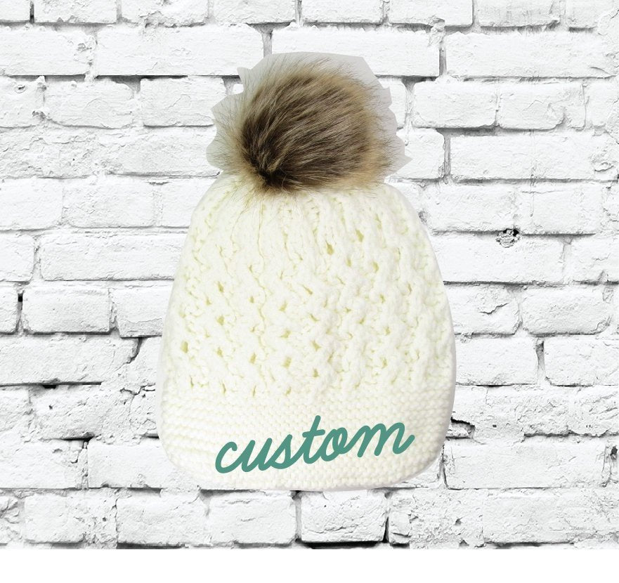 71b44e99c17a9 Custom Pom Pom Beanies White Small Cable and Brioche Knit Hats Monogram Hats  Custom Embroidery Hats