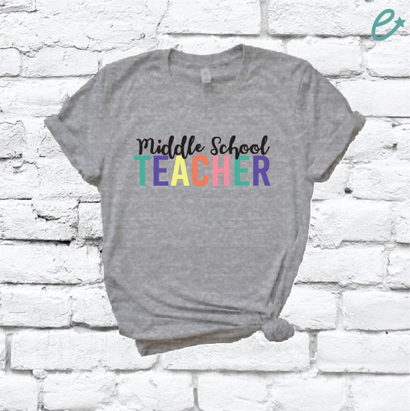 Middle School Teacher Custom Color Kids Print Women's V-Neck School T-shirt Shirt Tee