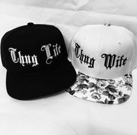 Thug Life and Thug Wife Set Embroidery Couple Black and White Rose Floral Snapback Hat Wifey