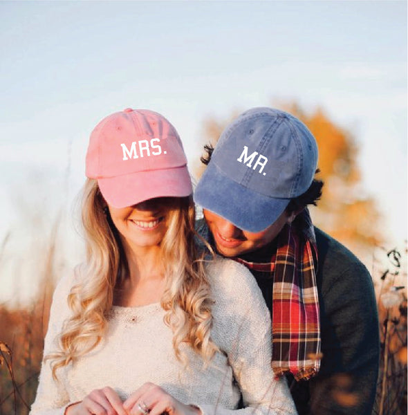 Mr. & Mrs. Unstructured Dad Hat Couples Hats Engagement Announcement Wedding Gift Coral Royal and White or Your Color Choice