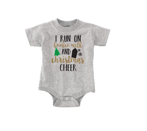 0d43dbcbc I run on Boobie milk and Xmas Cheer Baby Bodysuit Custom Infant T-shirt  Personalized