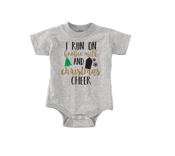 I run on Boobie milk and Xmas Cheer Baby Bodysuit Custom Infant T-shirt Personalized Baby Fine Jersey Shirt Baby Funny Infant