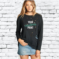 Custom Distressed Ripped Sweatshirt Long Oversize Top Personalized Womens Sweatshirt Long Sleeve Pullover Sweater