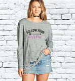 Follow your Arrow Distressed Ripped Sweatshirt Long Oversize Top Womens Sweatshirt Long Sleeve Pullover Sweater
