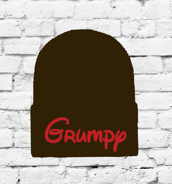 Grumpy Hat Custom Embroidery Beanie Dwarf Hat Your Color Choice Seven