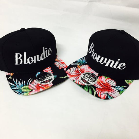 a833f367d Blondie and Brownie Hawaiian Snapback Hats Cursive Lettering Blonde and  Brunette Hats Best Friend Snapbacks Flatbill Hats