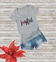 Joyful Print Women's V-Neck T-shirt Snowflake Christmas Shirt Custom Personalized Fitted Tee