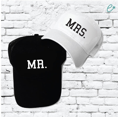 d2f27ec34f043 Mr and Mrs Marriage Pair Couple Custom Trucker Hats Mesh Back Hats with  Snapback Family