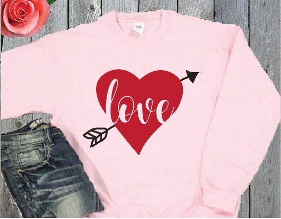 Love Arrow Crewneck Sweatshirt Custom Pullover Sweatshirt Heart Cupid Personalized Long Sleeve Sweater Valentine's Day Holiday Gift