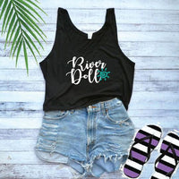 River Doll Print Women's Flowy Boxy Stylish Crop Tank Soft Fitted Tank Custom Tank Top Custom Personalized Vacation Lake