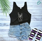 Rock and Roll Symbol Fist Print Women's Flowy Boxy Stylish Crop Tank Soft Fitted Tank Custom Tank Top Custom Personalized Fingers