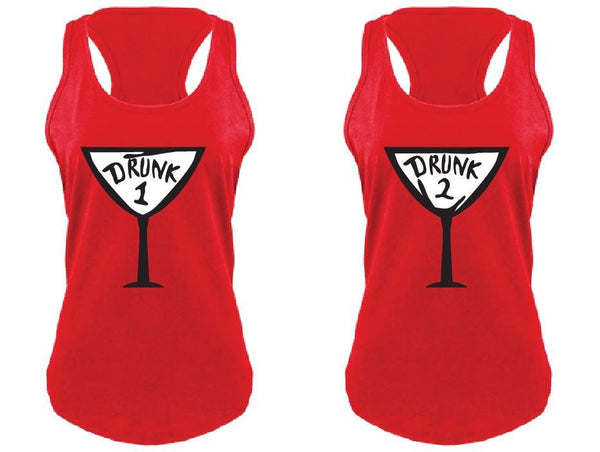 Drunk 1 and Drunk 2 Martini Tank Tops Fun Funny T-shirt Drinking Tee Women's V-Neck T-shirt Relaxed Fit Tee