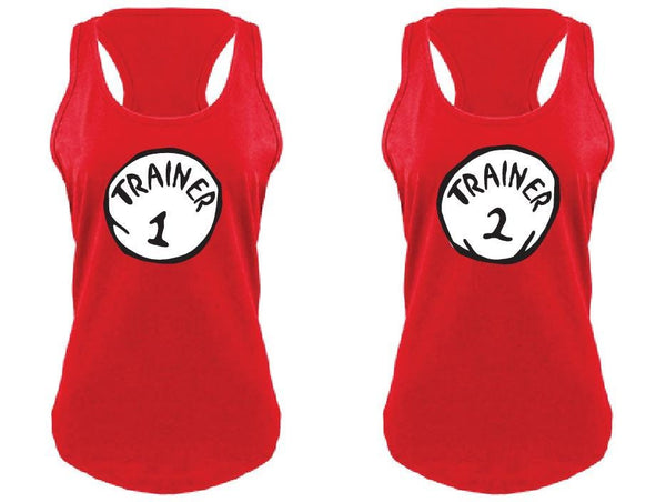 Trainer 1 and Trainer 2 Exercise Workout Tank Tops Fun Funny T-shirt Drinking Tee Women's V-Neck T-shirt Relaxed Fit Tee