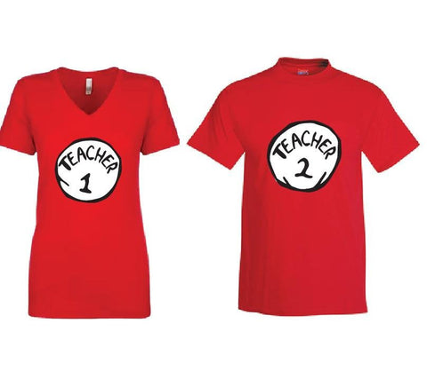 Teacher 1 and Teacher 2 Martini T-shirt Fun Nurse Tee Women's V-Neck T-shirt Relaxed Fit Tee