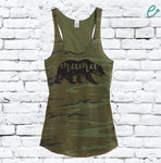 Mama Bear Floral Women's Camo Scoop Neck Racer back Tank Top Country Shirt Soft Camoflauge Tank Top Green Cami