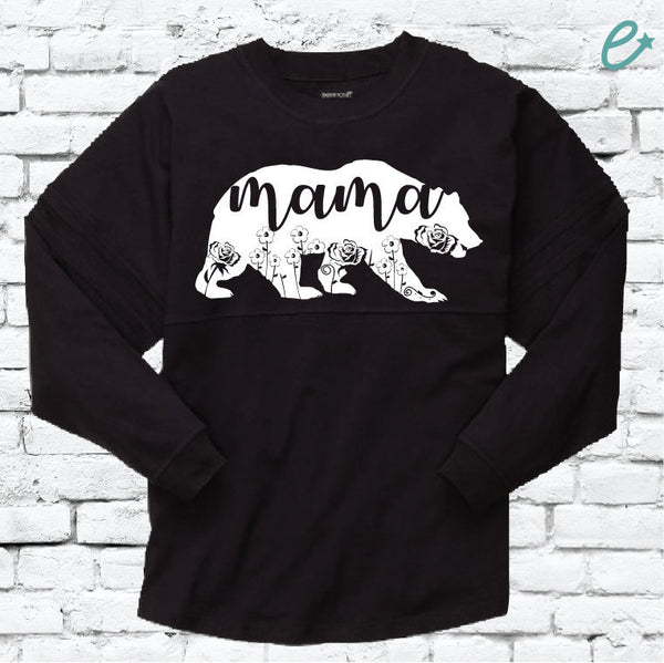 Mama Bear Long Sleeve Shirt Oversize Black Varsity Fit Pom Pom Jersey Pullover Shirt Large Relaxed Fit