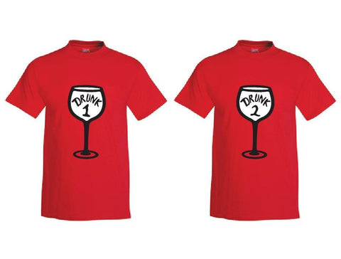 Drunk 1 and Drunk 2 Wine Glass Custom Mens Graphic Tee Unisex Fit T-shirt for Men Funny Shirts Drinking Shirt Red or Your color Choice