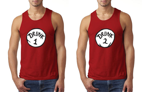 Drunk 1 and Drunk 2 Custom Mens Graphic Tee Tank Top Retail Fit T-shirt for Men Funny Shirts Drinking Shirt Red or Your color Choice