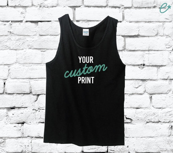 Custom Print Men's Tank Top Custom Shirt Your Print Personalized Relaxed Shirt Retail Fit Tee